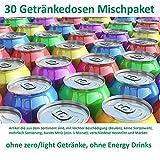 Getränke Box (30 Dosen, Mischkarton, ohne light/zero oder Energy Drinks, Dosen mit Beulen, kurzes MHD ) A1 Text lesen