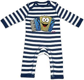 HARIZ HARIZ Baby Strampler Streifen Akkordeon Lachend Instrument Kind Lustig Plus Geschenkkarte Navy Blau/Washed Weiß 6-12 Monate