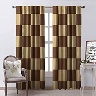 GloriaJohnson Checkered Blackout Curtain Empty Checkerboard Wooden Seem Mosaic Texture Image Chess Game Hobby Theme 2 Panel Sets W42 x L84 Inch Brown Pale Brown
