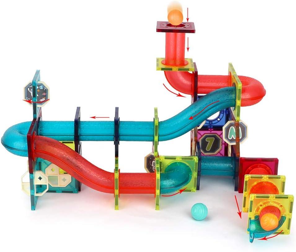 Buy kramow 20 PCS Marble Run Magnetic Tiles Building Blocks Toys ...