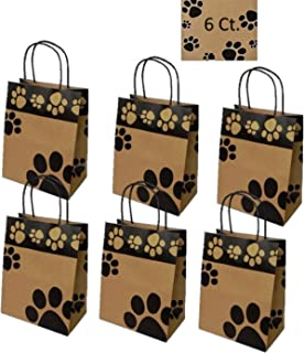 Gift Bags Dog Paw Prints 6 Count - Bags Only (Medium, Kraft Paws)