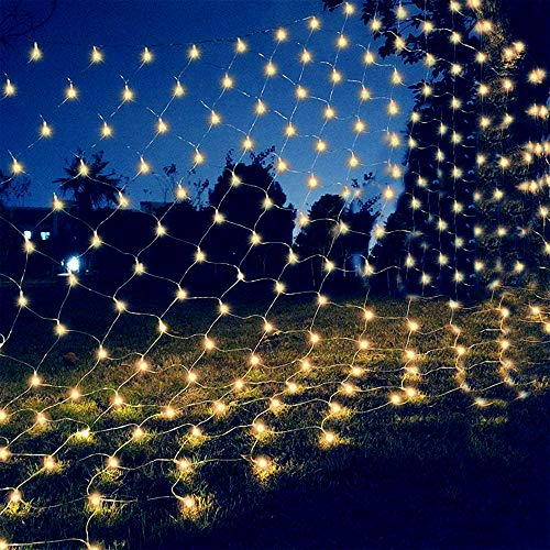 gresonic Net Mesh Lights,100 LEDs 3.2ft x 4.2ft Waterproof String Lights for Christmas Trees,Bushes,Holiday,Party,Outdoor Garden,Wedding Decorations(Warm White)