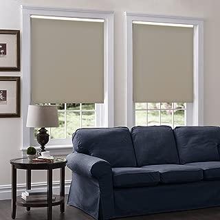 Windowsandgarden Cordless Roller Shades, Any Size 19-96 Wide, 44W x 90H, Serena Light Filtering/Room Darkening Dove