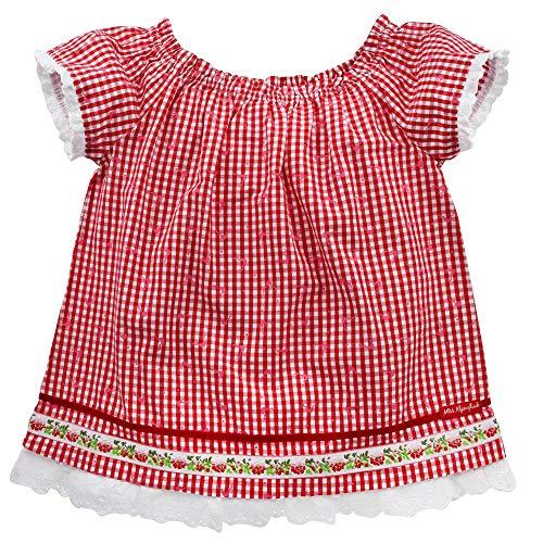 Alpenglück Kinder-Trachtenbluse aus Baumwolle Gr. 140 I Schöne Mädchen-Bluse in Rot-Weiß I Trachtenmode, kariert I Blüschen aus Webware I Wunderschöne & Bequeme Kinderbekleidung
