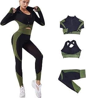 Veriliss 3 Piezas Mujer Yoga Traje Entrenamiento Para, Gym Mallas de Yoga Sin Costuras y Sujetador Deportivo Elástico Ropa...