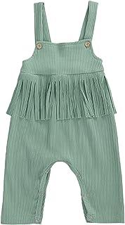 طفلة الشرابة مضلع رومبير الوليد حبال أكمام القطن بلون بذلة (Color : Green, Kid Size : 18M)