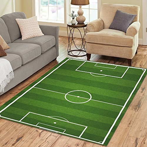 InterestPrint Area Rug Custom Area Rugs Floor Cover For Living Room Dining Room Bedroom Soccer Field Place Mat 7x5