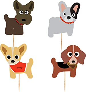 Dog Cupcake Toppers Kid's Birthday Party Decorations Supplies Cute Puppy Cupcake Toppers Pets Theme Baby Shower 48pcs