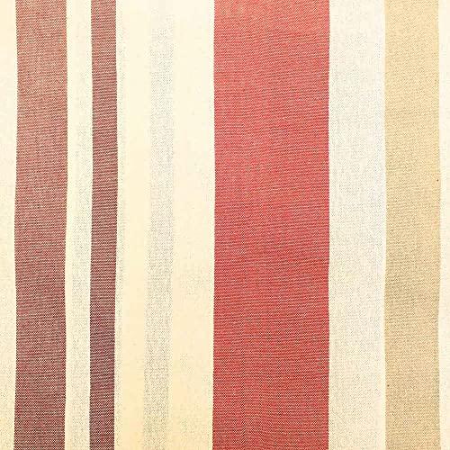 Kt KILOtela Tela de loneta Hilo Tintado - Retal de 300 cm Largo x 280 cm Ancho | Rayas Verticales - Rojo, Granate, Beige ─ 3 Metros
