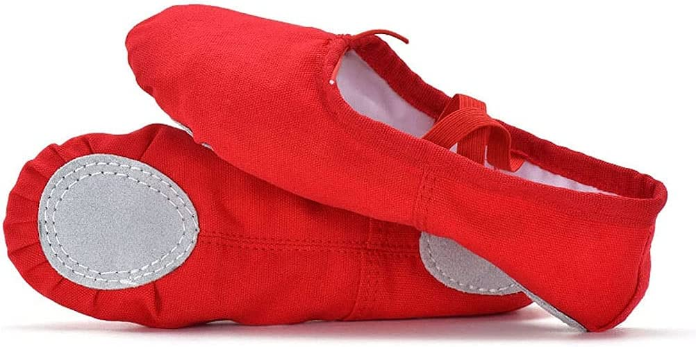 PINGZG Canvas Ballet Dance Shoes,Women Professional Dance Flats Slippers for Girls Toddlers Kids Adult (Color : Red, Size : 37 EU)