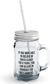 Clear Mason Jar-Santa Clause Self Motivation Teens Glass Jar With Straws