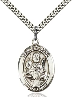 Bonyak Jewelry St. Raymond Nonnatus Hand-Crafted Oval Medal Pendant in Sterling Silver