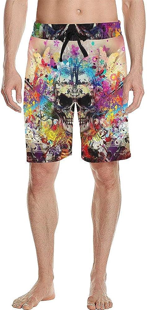 Men's Printed Swim Trunks Quick Dry Soft Swim Board Shorts Beach Shorts with Pockets