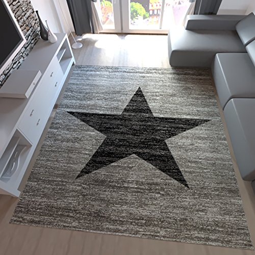 Kurzflor Teppich Wohnzimmer Stern Muster Meliert Rot Schwarz Beige Grau, Farbe:Grau, Maße:60x100 cm
