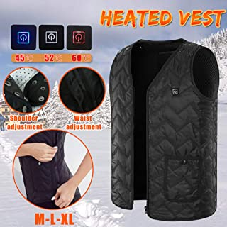YUYUZC Heated Base Layer Shirt for Women,Adjustable Size,Washable,USB Interface,3 Heating Temperature,Electric Heating Clothing,Outdoor Skiing, Skiing, Fishing(Black,Battery Not Included)