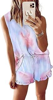 2pcs Womens Tie Dye Printed Ruffle Pajama Sets Lounger Sleep Leisure Wear