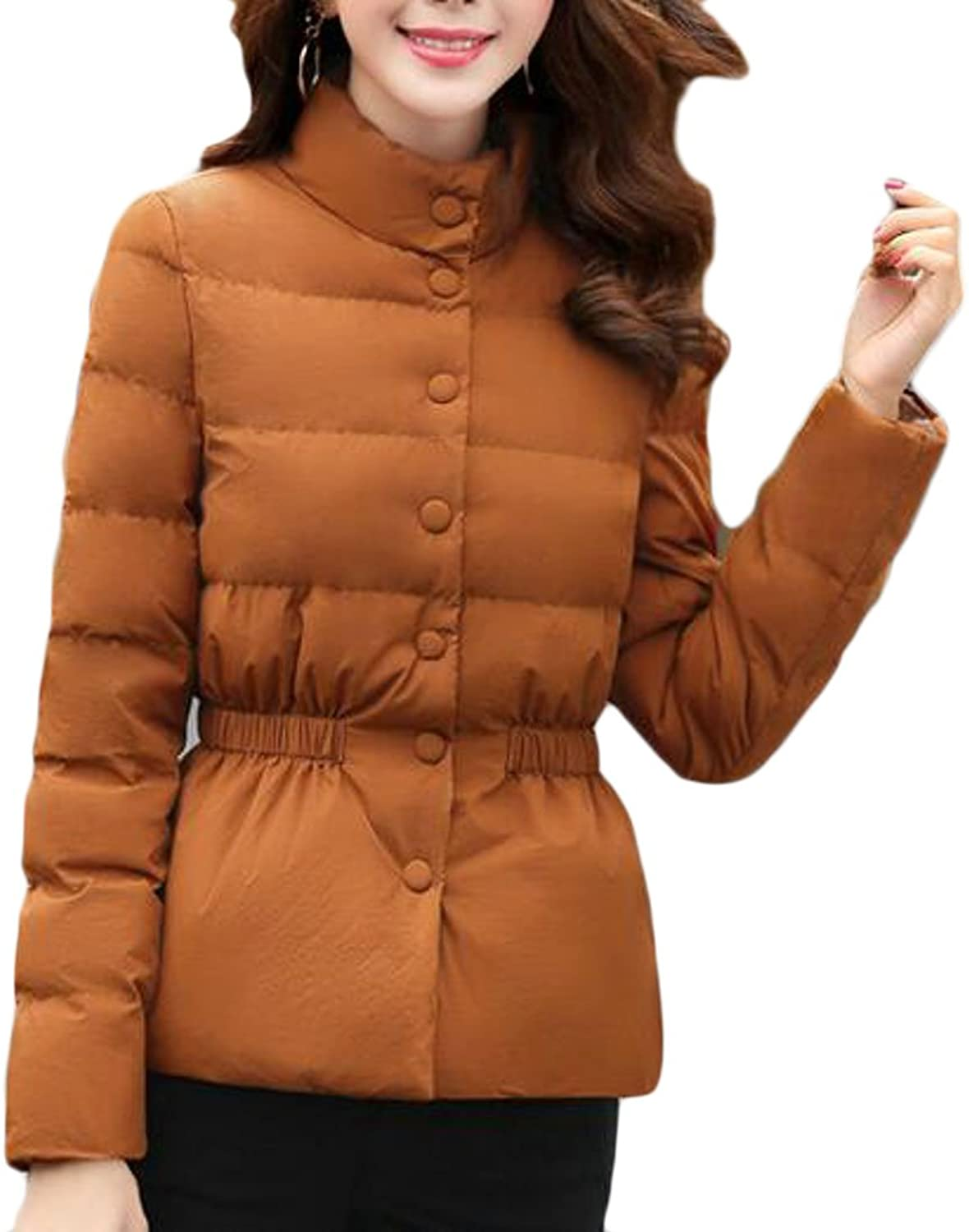 Smeiling Womens Winter Puffer Ultralight Stand Collar Quilted Down Coat Jacket