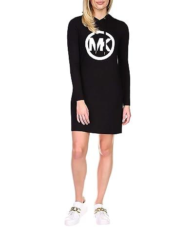 MICHAEL Michael Kors Long Sleeve Circle MK Logo Hoodie Dress (Black) Women