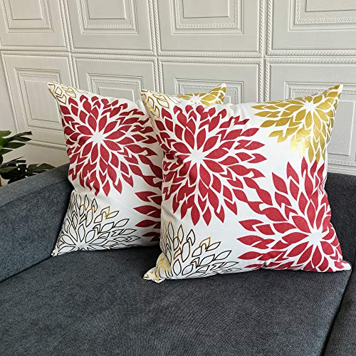 TAOSON Pack of 2,Sun Flower Geometric Pattern Bronzing Printed Cozy Soft Throw Pillow Cases Cushion Covers Shells for Sofa Couch Bed Home Decoration 18 x 18 Inches, Wine Red and Gold