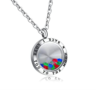 KnSam Necklace Fashion Jewelry Stainless Steel Necklace for Men and Women Round Glass Box