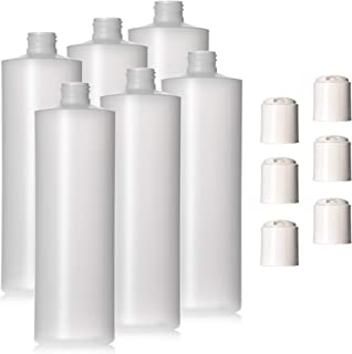 8oz Natural Color HDPE Squeeze Bottles with Disc Cap (6 Pack, 8oz)