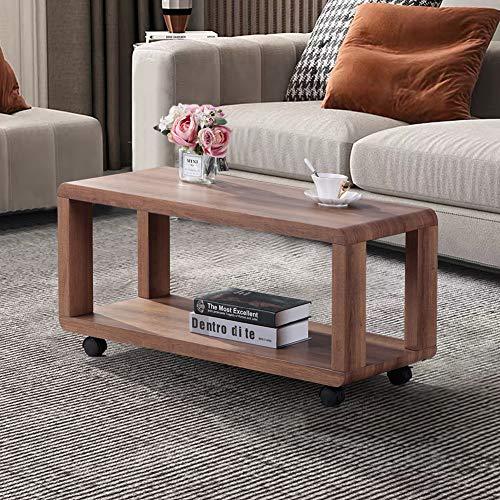 GOLDFAN Table Basse Rectangulaire Table de Salon Moderne avec Espace de Rangement sur roulettes pour Salon Bureau Chambre, Marron
