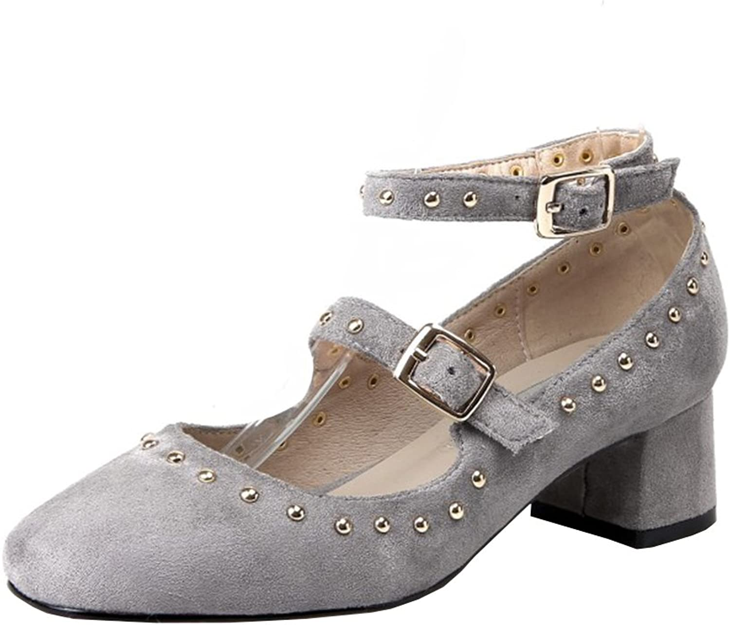 Agodor Womens Mid Block Heel Mary Janes Ankle Strap Pumps with Rivets Closed Toe Casual Retro shoes