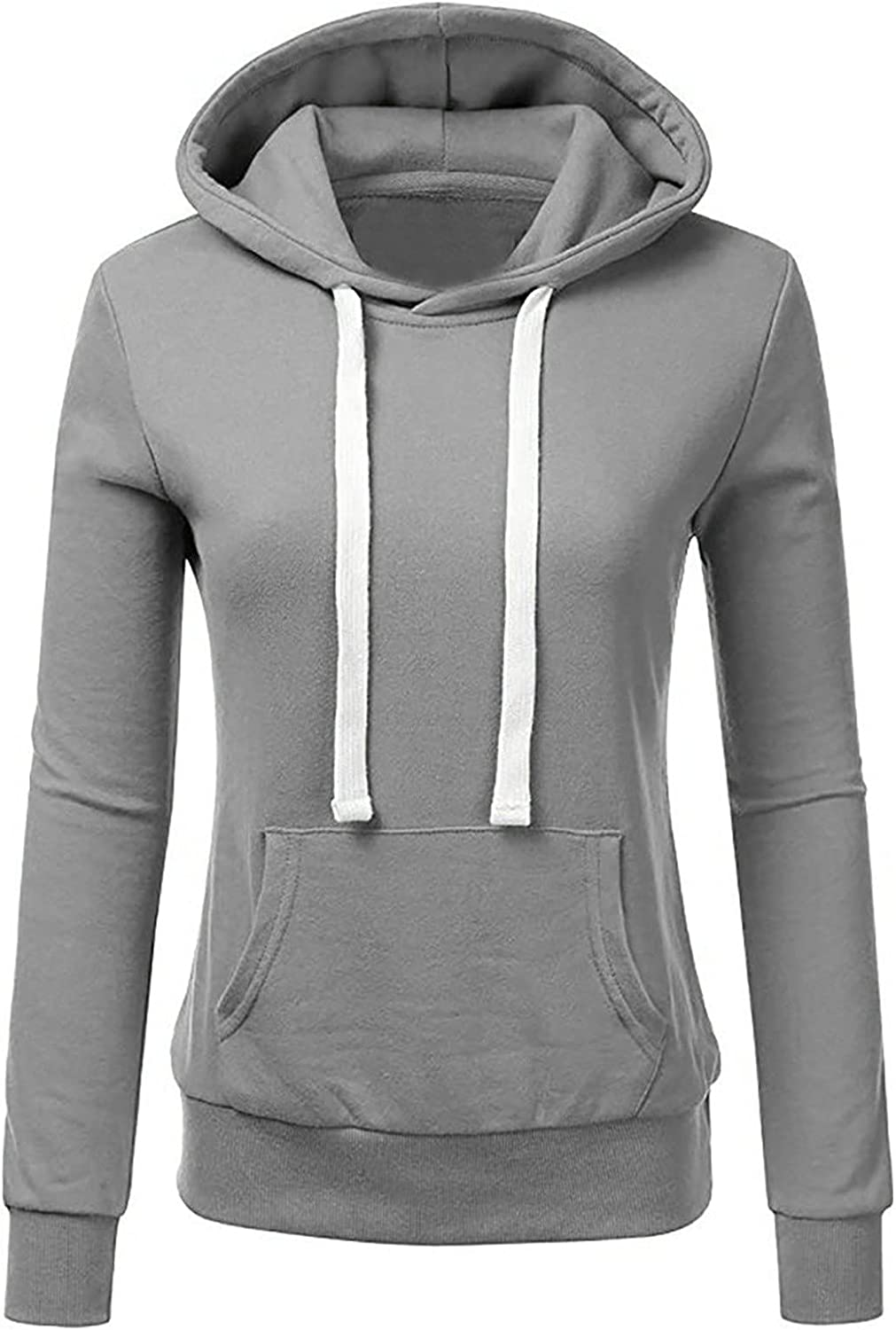 Pullover for Women Hoodies Drawstring Hooded Pockets Casual Long Sleeve V Neck Sweatshirts Solid Loose Plus Size Top