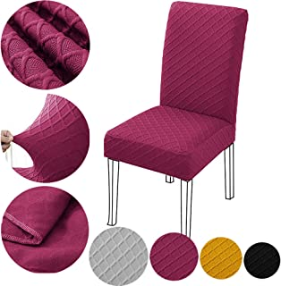 OUSHU Chair Protect Covers for Dining Room Removable Washable Anti-Dust Solid Color 4 Sets