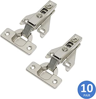 Concealed Hinges Full Overlay 105 Degree Opening Angle Clip On Face Frame Kitchen Cabinet Hinges Nickel Plating, 10 Pair