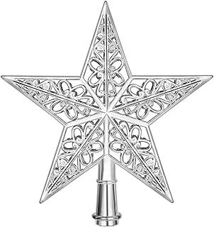 Amosfun Star Christmas Tree Topper Silver Christmas Tree Top Decoration Hollowed-Out Xmas Tree Topper Ornaments for Holida...