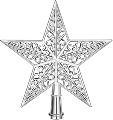Amosfun Star Christmas Tree Topper Silver Christmas Tree Top Decoration Hollowed-Out Xmas Tree Topper Ornaments for Holiday Home Office Shopping Mall Decors 2PCS