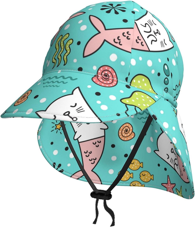 Lovely Cat Mermaids Kids Sun Hat Flap Popular B Sale item with Neck Summer