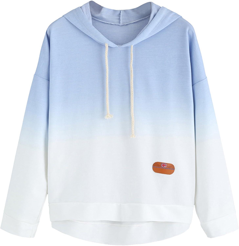 SweatyRocks Women's Long Sleeve Hoodie Sweatshirt Colorblock Tie Dye Print Tops
