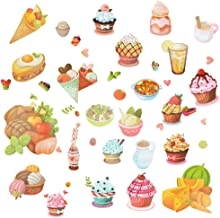 AriTan Delicious Food Window Stickers for Kids Boys and Girls, Double Sided No Glue Flexible Reusable Clings, Decorations Cartoon Vegetables Bread Ice Cream