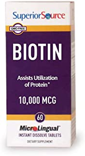 Superior Source Biotin 10000 mcg. Under The Tongue Quick Dissolve Sublingual Tablets, 60 Count, Supports Healthy Hair, Ski...