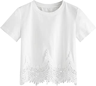 SweatyRocks Women's Short Sleeve Round Neck Casual Lace Hem Crop Tee Shirt Top