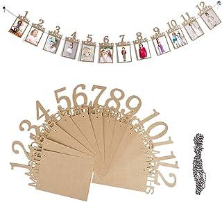 OFNMY 1er anniversaire banderole guirlande bébé banderole photo bébé 1-12 mois photo prop parti banderole décor papier de ...