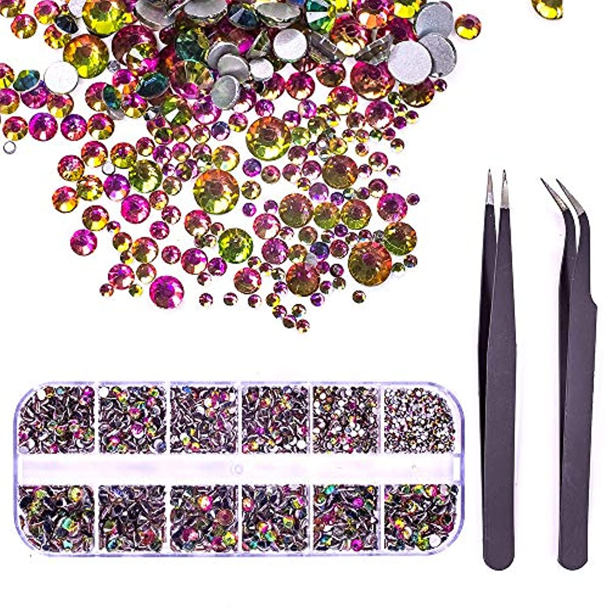 MIOBLET 1728pcs Crystals Flame Nail Art Rhinestones Round Beads Flatback Glass Charms Gems Stones and 2 Pieces Tweezers with Storage Organizer Box, SS3 6 10 12 16 20, 288 Pieces Each Size
