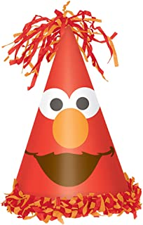 amscan Sesame Street Elmo Turns One Cone Hat, Birthday