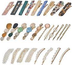 28 Pcs Acrylic Resin Hair Clips, Acrylic Hair Barrettes, Pearl Hair Clips, Hollow Geometric Hair Clip, Macaron Hair Clips ...