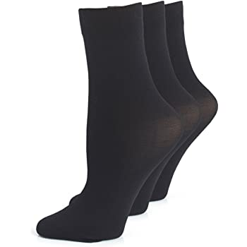 Ladies 3 pair pack of ankle highs with comfort top in black or natural