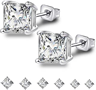 18K Gold Plated Stainless Steel Needle Princess Cut Clear Black CZ Stud Earrings Set, 3mm-8mm 6 Pairs