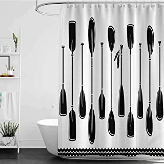 homecoco Shower Curtains for Bathroom stall Oar,Kayak Set with Upward and Downward Paddles and Feather River Rowing Travel Design,Black White W72 x L72,Shower Curtain for Men