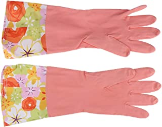 D DOLITY Strong Household Rubber Gloves Warm Lining Long Sleeve Floral Washing Up Cleaning Gloves