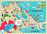 Poster 80 x 60 cm: Bunte Karte Usedom von Elisandra