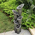 "PeterIvan Floor-Standing Fountains - 39 1/2"" 5-tiered Cylindrical Cascading Water Fountain with LED Lights for House, Garden, Patio, Yard Decor, Water Fountains Outdoor Features Vision&Audition Relax"