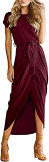 AUSELILY Women's Casual Summer Cap Short Sleeve Loose Slit Solid Party Long Maxi Dress with Belt (M,Wine Red