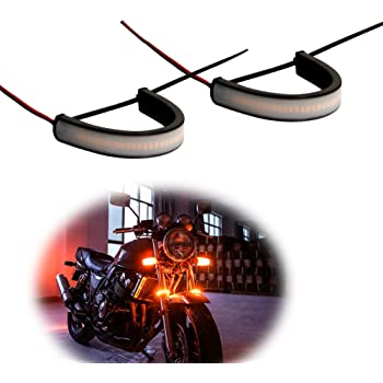 39mm - 41mm 2pcs amber Motorcycle Fork LED Turn Signal Strip Lights Kit Smoked Lens for Harley Davidson Victory Universal Super Bright and Waterproof Motor Lamp