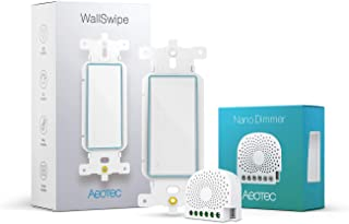 Aeotec Smart in-Wall Dimmer kit, Nano Dimmer & WallSwipe, in-Wall Z Wave Dimmer Switch with Wall Panel Controller